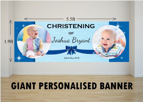 Personalised GIANT Large Boys Christening Baptism Poster Banner N46